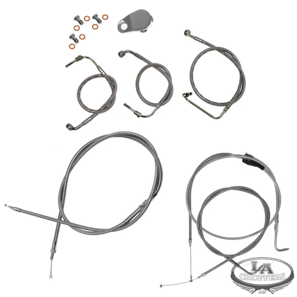 "15-17"" APE BAR CABLE KIT STAINLESS STEEL FOR NON-ABS HD"