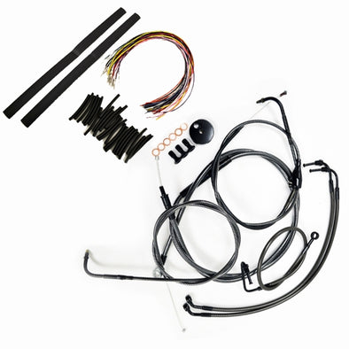 "CABLE AND BRAKE LINE KIT MIDNIGHT BLACK BRAIDED FOR 12""-14"" APE HANGERS"