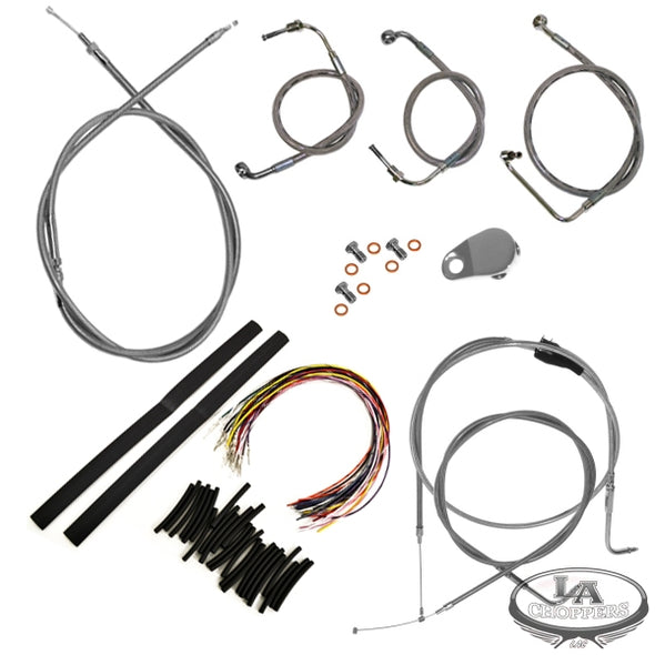 "CABLE AND BRAKE LINE KIT STAINLESS POLISHED FOR 18""-20"" APE HANGERS"