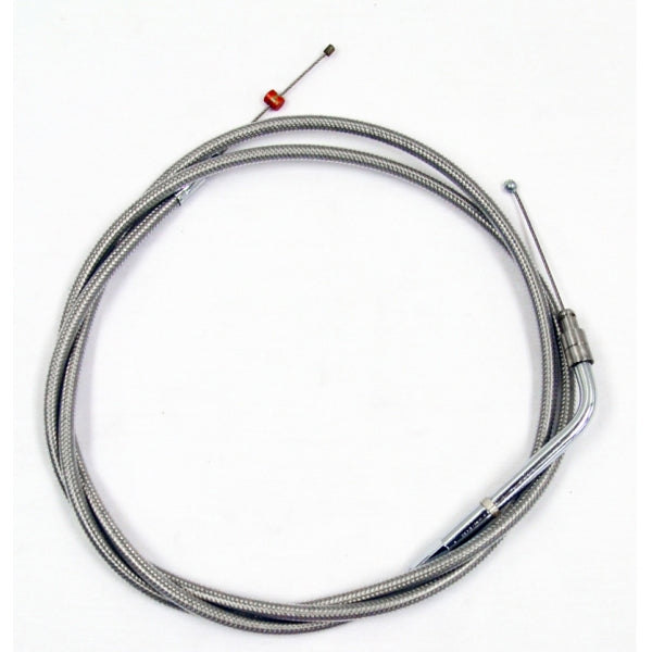 THROTTLE CABLE STAINLESS BRAIDED FOR BEACH BARS OR EXTRA WIDE HANDLEBARS WITH PULLBACK