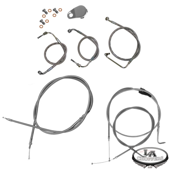 "12-14"" APE BAR CABLE KIT STAINLESS STEEL FOR NON-ABS HD"