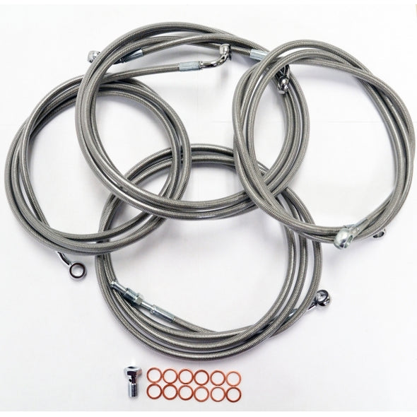 "CABLE AND BRAKE LINE KIT STAINLESS BRAIDED FOR 12""-14"" APE HANGERS"