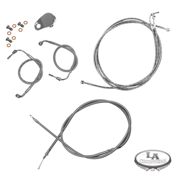 "BRAIDED STAINLESS 12-14"" APE CABLE KIT FOR ABS MODELS HD"