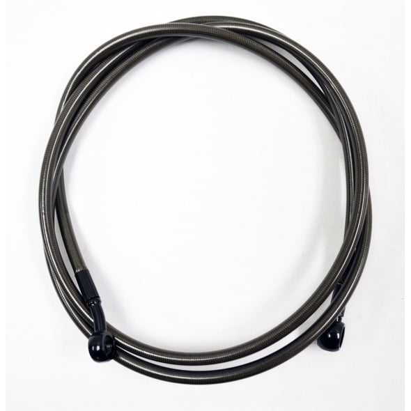 "MIDNIGHT BRAIDED CLUTCH LINE FOR 12""-14"" APES / BLACK-BRAIDED / STAINLESS STEEL"