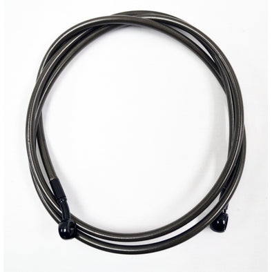"MIDNIGHT BRAIDED CLUTCH LINE FOR 18""-20"" APES / BLACK-BRAIDED / STAINLESS STEEL"