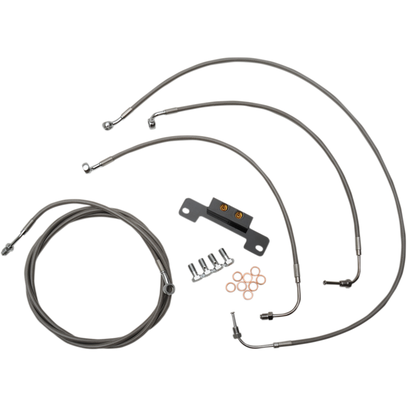 STANDARD BRAIDED STAINLESS HANDLEBAR CABLE/BRAKE LINE KIT FOR MINI APES / NATURAL-BRAIDED / STAINLESS STEEL