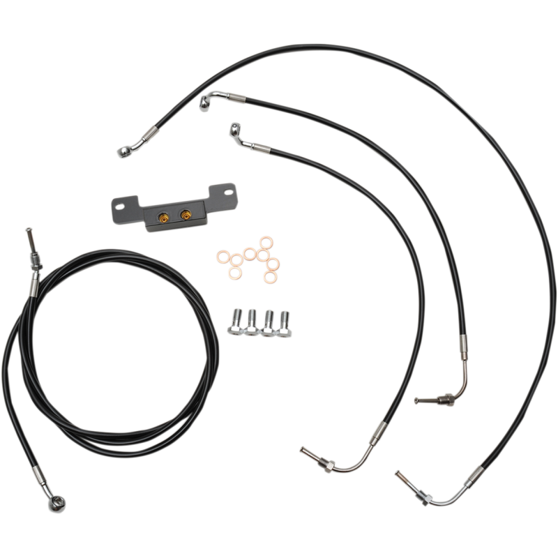 STANDARD BLACK VINYL/STAINLESS HANDLEBAR CABLE/BRAKE LINE KIT FOR 15