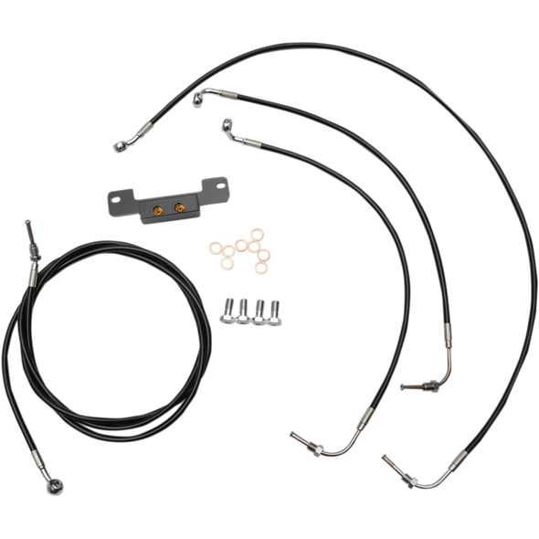 "STANDARD BLACK VINYL/STAINLESS HANDLEBAR CABLE/BRAKE LINE KIT FOR 15"" - 17"" APES / BLACK / STAINLESS STEEL
