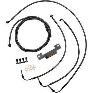 "STANDARD MIDNIGHT BRAIDED HANDLEBAR CABLE/BRAKE LINE KIT FOR 18"" - 20 "" APES / BLACK / STAINLESS STEEL"