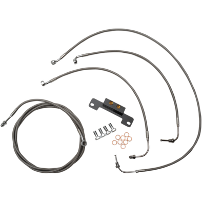 "STANDARD BRAIDED STAINLESS HANDLEBAR CABLE/BRAKE LINE KIT FOR 18"" - 20 "" APES / NATURAL-BRAIDED / STAINLESS STEEL"