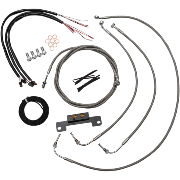 "COMPLETE BRAIDED STAINLESS HANDLEBAR CABLE/WIRE HARNESS/BRAKE LINE KIT FOR 12"" - 14"" APES / NATURAL-BRAIDED / STAINLESS STEEL"