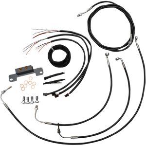 "COMPLETE BLACK VINYL/STAINLESS HANDLEBAR CABLE/WIRE HARNESS/BRAKE LINE KIT FOR 15"" - 17"" APES / BLACK / STAINLESS STEEL