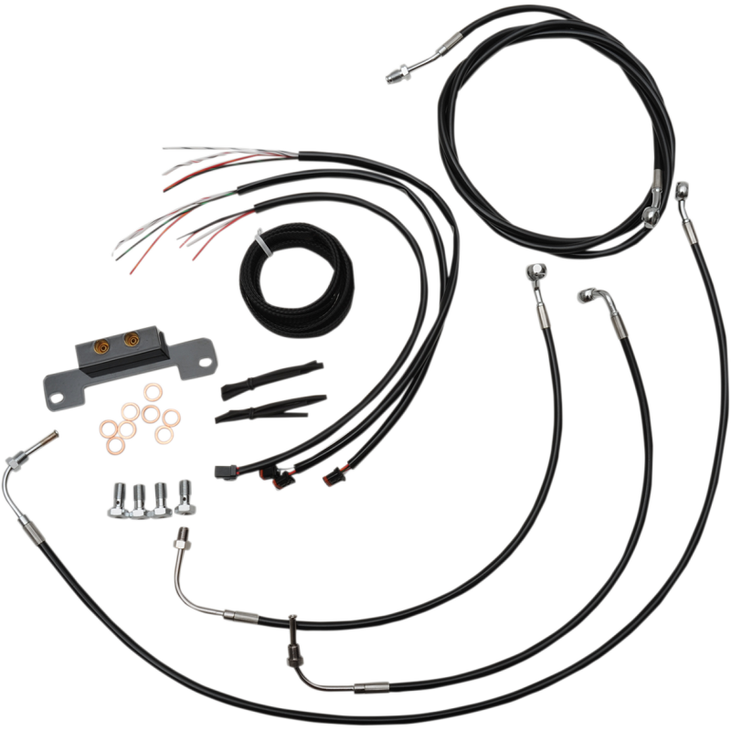 COMPLETE BLACK VINYL/STAINLESS HANDLEBAR CABLE/WIRE HARNESS/BRAKE LINE KIT FOR 15