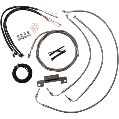 "COMPLETE BRAIDED STAINLESS HANDLEBAR CABLE/WIRE HARNESS/BRAKE LINE KIT FOR 15"" - 17"" APES / NATURAL-BRAIDED / STAINLESS STEEL"