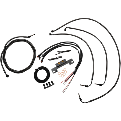"COMPLETE MIDNIGHT BRAIDED HANDLEBAR CABLE/WIRE HARNESS/BRAKE LINE KIT FOR 18"" - 20 "" APES / BLACK-BRAIDED / STAINLESS STEEL"