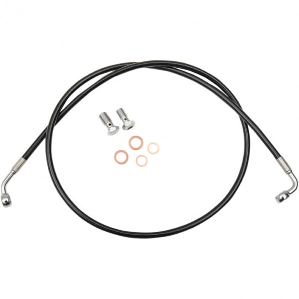 BRAKE LINE BLACK VINYL STAINLESS BRAIDED FOR BEACH BARS OR EXTRA WIDE HANDLEBARS WITH PULLBACK
