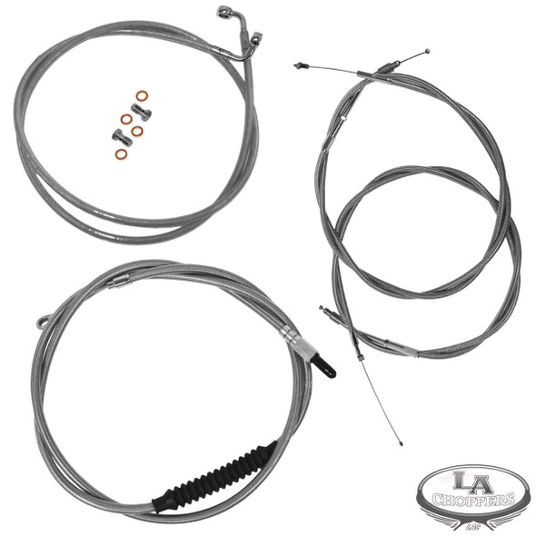 "15-17"" APE BAR LENGTH CABLE KIT STAINLESS STEEL FOR NON ABS HD"