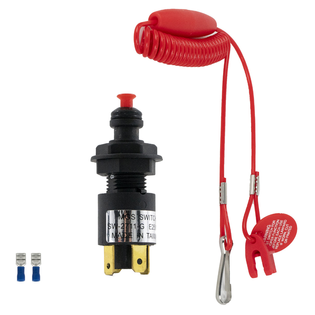Universal Emergency Cut-Off Switch with Coiled Lanyard on