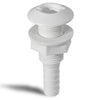 White Straight Thru-Hull Connection for Hose, 1/2 inches FO-1866
