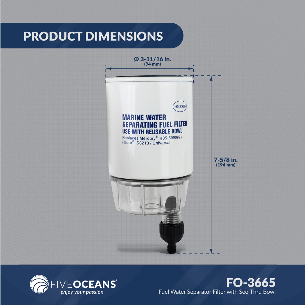 Fuel Water Separator Filter with See-Thru Bowl FO-3665