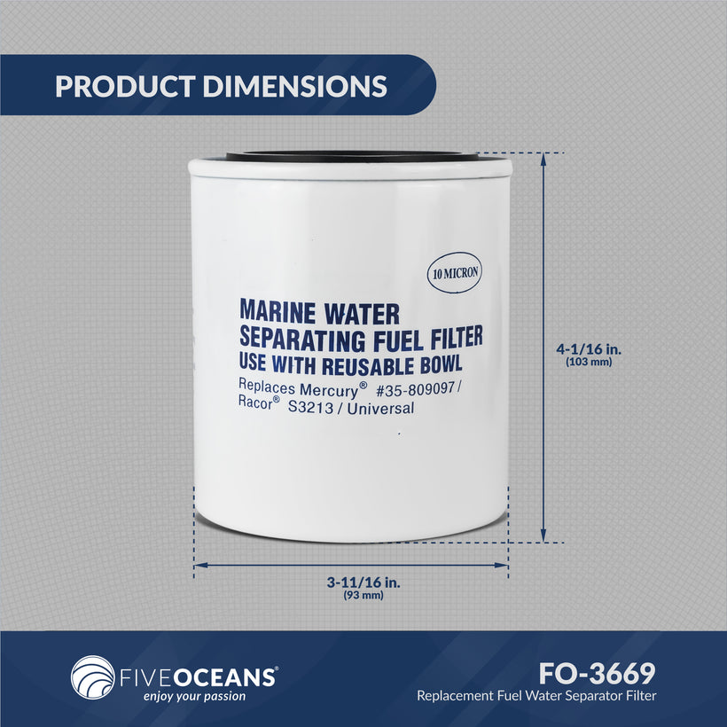 Replacement Fuel Water Separator Filter without See-Thru