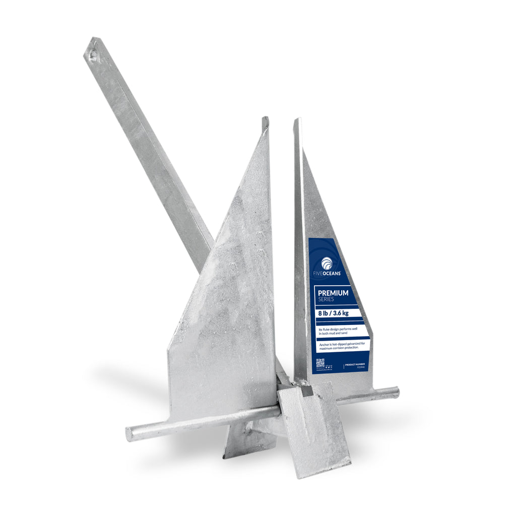 Traditional Danforth Style Fluke Hot Dipped Galvanized Anchor, 8 LB (3 62  KGS) FO-3940
