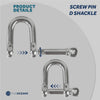 Stainless Hi-Mod D Shackles, 5/16 inches FO-411