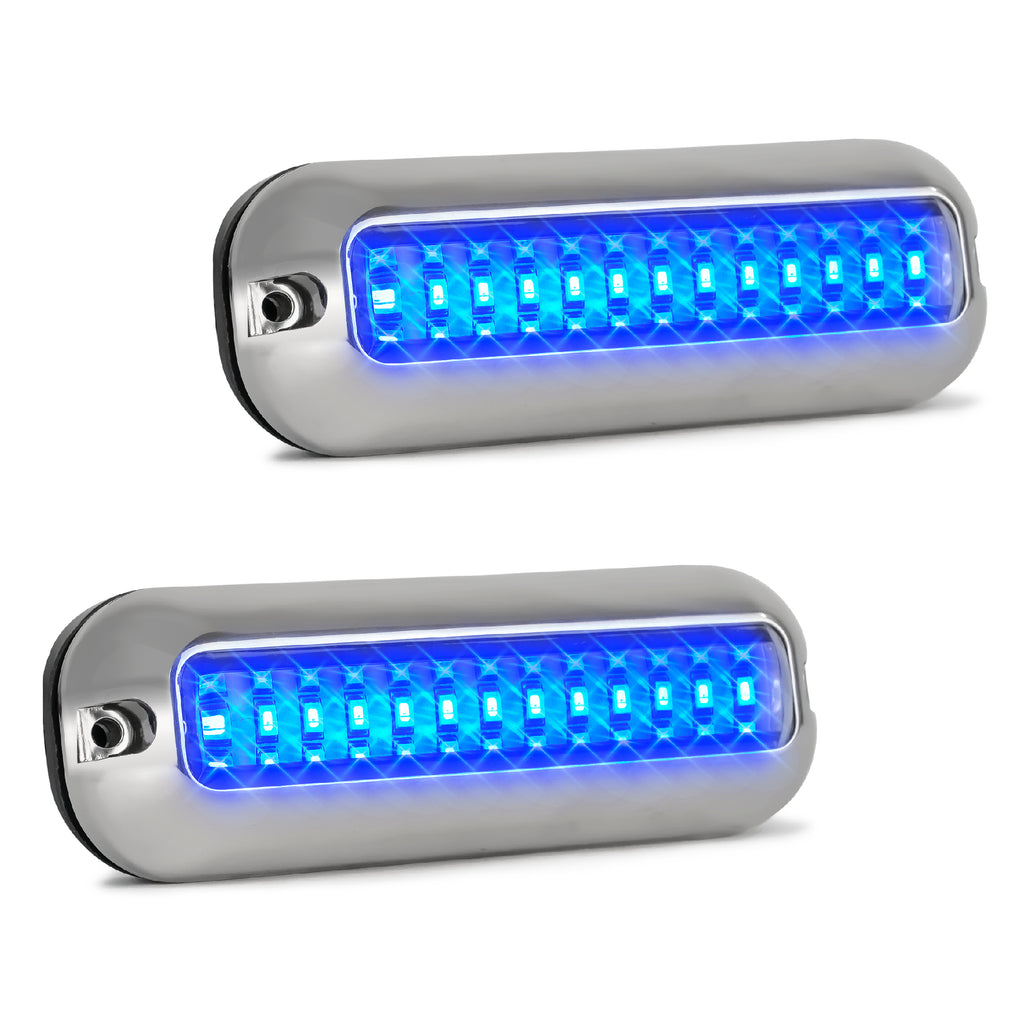 LED Underwater Pontoon Transom Lights w/ Stainless Steel Housing, Blue  (Pair) FO-4136-M2
