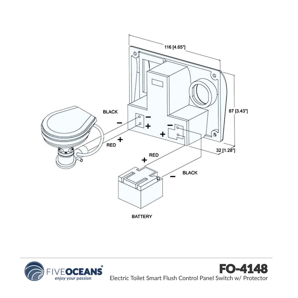 TMC Panel Switch-Flush Control w// Electric Toilet Protector FiveOceans FO4148-1