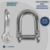 "Stainless Hi-Mod ""D"" Shackles, 35/64 inches FO-414"