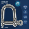 "Stainless Steel Captive Pin ""D"" Shackle, 3/8 inches FO-418"