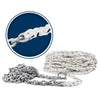 Windlass Anchor Rode Nylon Three Strand 1/2inch x 150ft with Galvanized 1/4inch x 15ft HT G4 Chain, Prespliced FO-4286