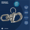 Swivel Eye Snap Shackle Quick Release for Sail Rigging Sailing Boat in Stainless Steel, 2-3/4 inches FO-443