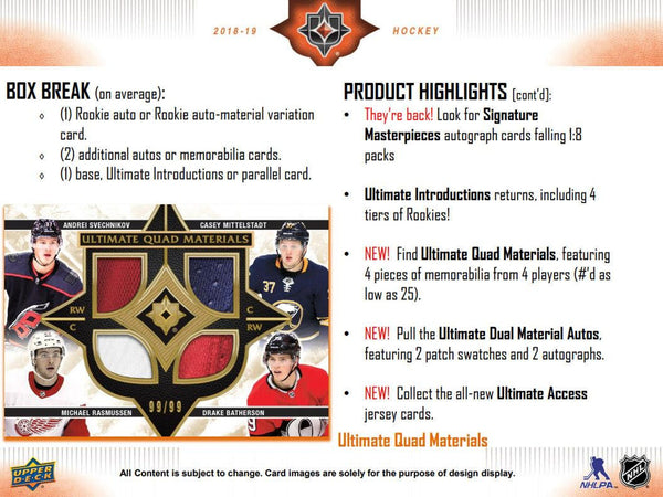 (FRIDAY) 2018/19 Upper Deck Ultimate Collection Hockey Hobby 8-Box Case Break - Pick-Your-Teams #3