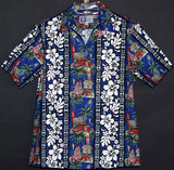 Hibiscus and Surf Board Panel Shirt