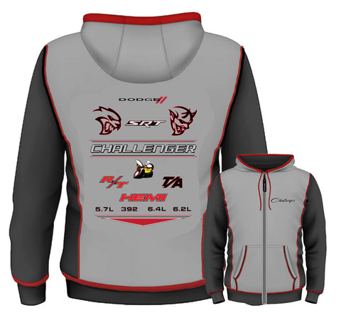 Dodge Challenger Embroidered Zip Hoodie