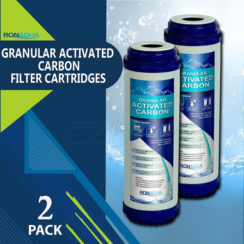 10 In. x 2.5 In. Transparent Granular Activated Carbon Whole House Water Filter Replacement Cartridges