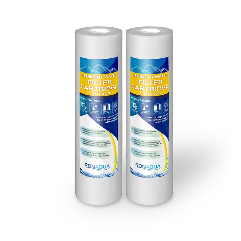 Pack of Two 10 Inch 1 Micron Sediment Water Filter Cartridges