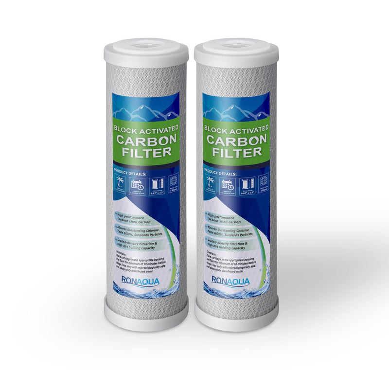 Pack of Two 10 Inch 5 Micron Activated Carbon Block Water Filter Replacement Replacement Cartridges