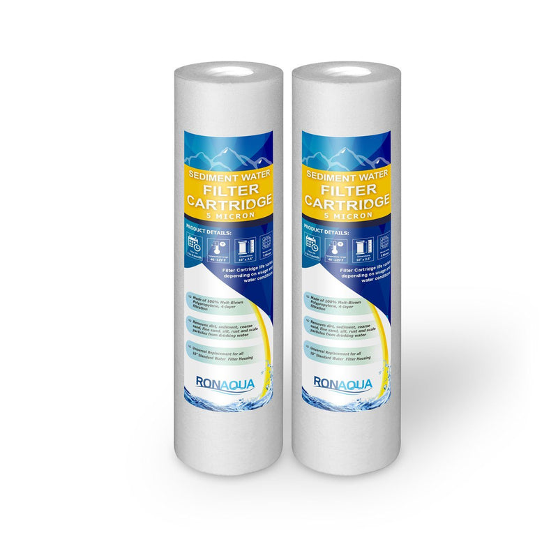 Pack of Two 10 Inch 5 Micron Sediment Water Filter Cartridges