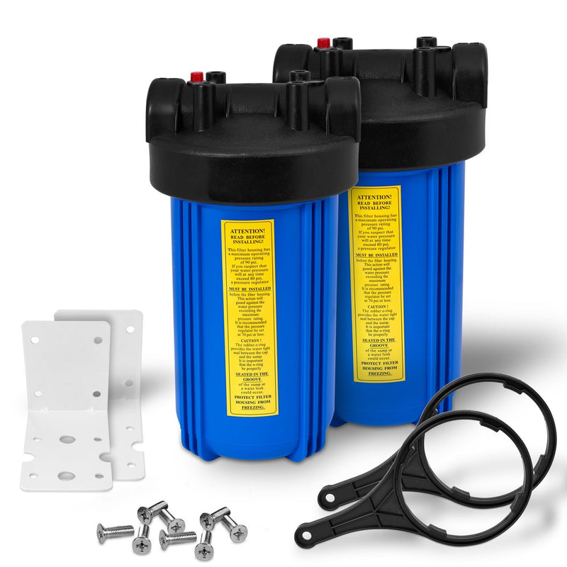 Pack of Two 10 Inch Big Blue Whole House Water Filter Housings