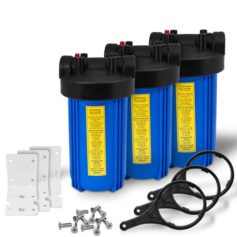 Pack of Three 10 Inch Big Blue Whole House Water Filter Housings