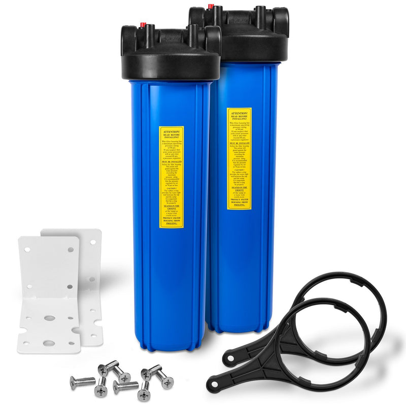 Pack of Two 20 Inch Big Blue Whole House Water Filter Housings