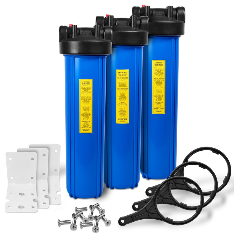 Pack of Three 20 Inch Big Blue Whole House Water Filter Housings