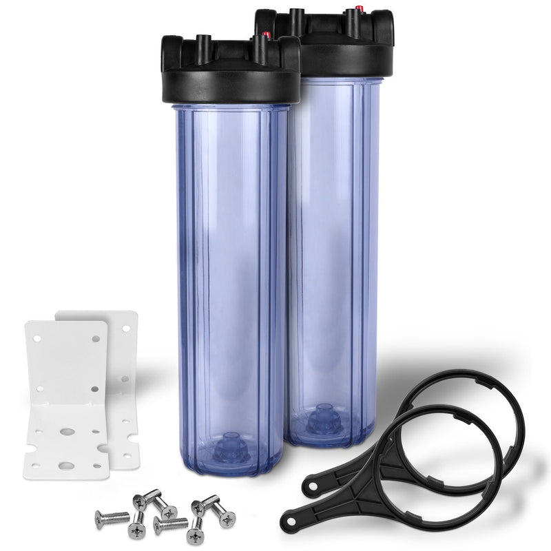 Pack of Two 20 Inch Transparent Whole House Water Filter Housings