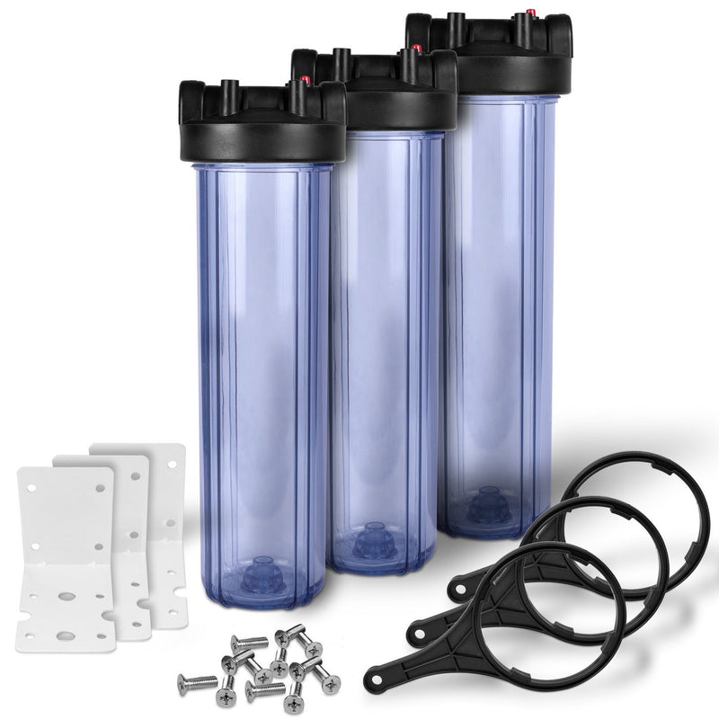 Pack of Three 20 Inch Transparent Whole House Water Filter Housings