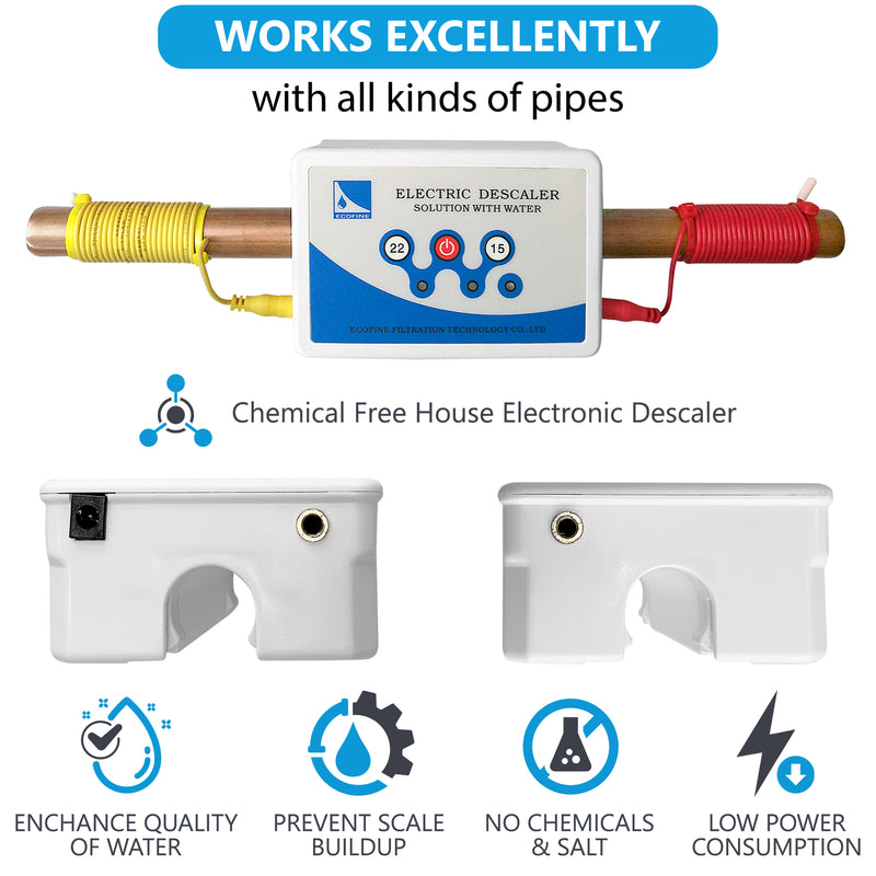 Electronic Scale & Rust Prevention Chemical & Salt Free Whole House Water Softener Substitute System to Correct Problems Caused By Inorganic Groundwater Impurities, Helps Avoid Lime Scale Accumulation