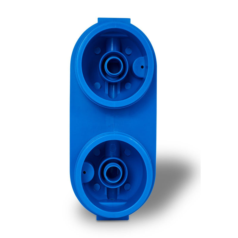 Dual 10 Inch 5 Micron Sediment and Carbon Block Whole House Water System Housing Cap, Bottom View