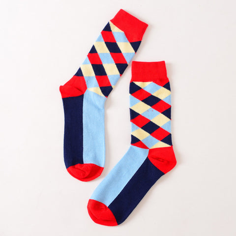 Red Blue Diamond Socks