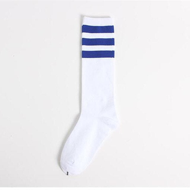 Blue Three Striped Socks